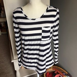 Blue and cream striped shirt with wide neck